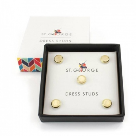 Set of 5 Gilt Surround Mother of Pearl Effect Dress Shirt Studs